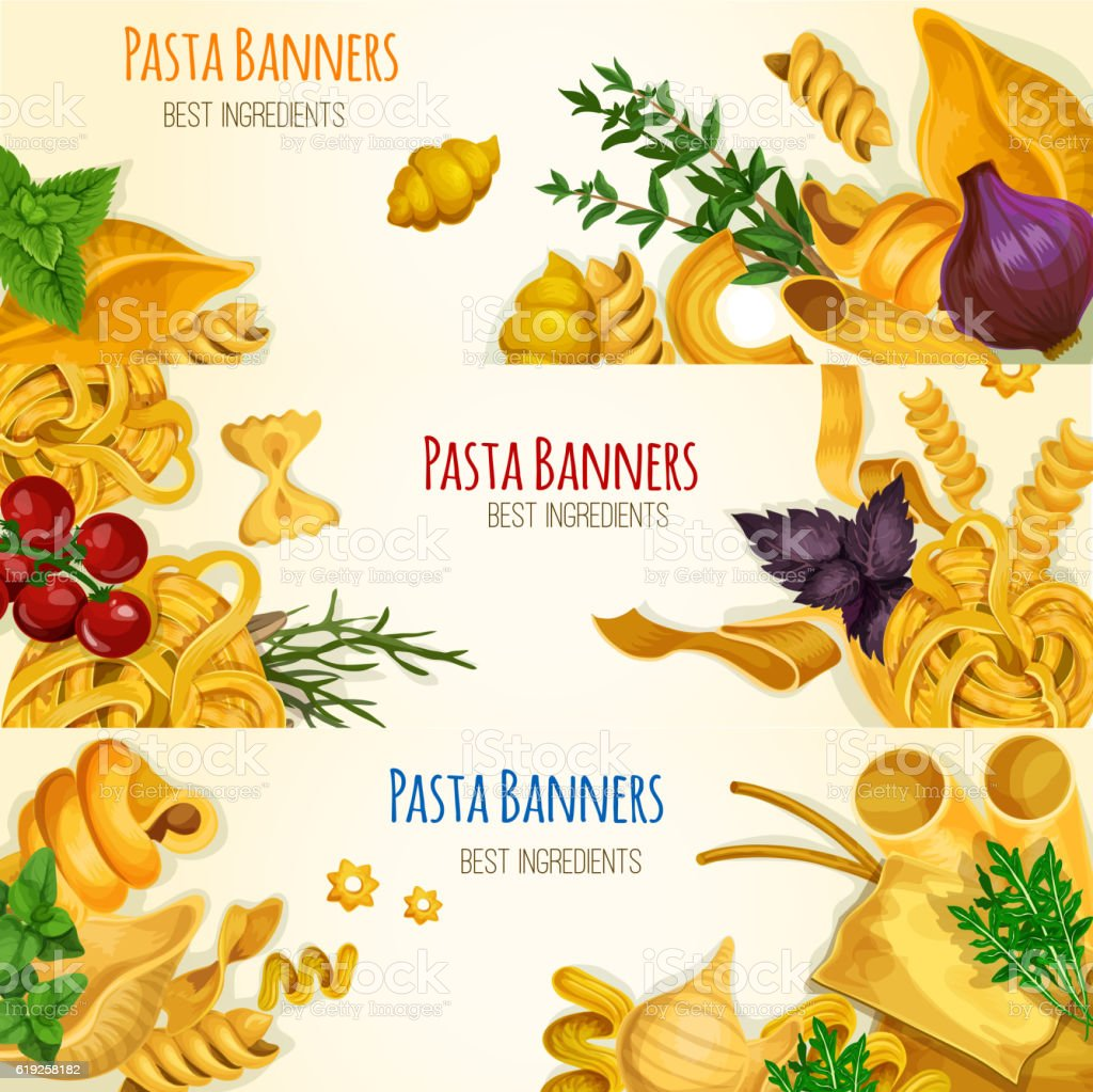 Pasta banners with cooking ingredients vector art illustration