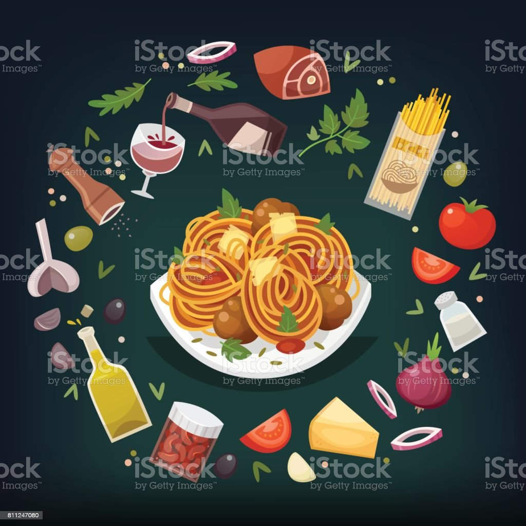 Pasta bolognese dish. vector art illustration