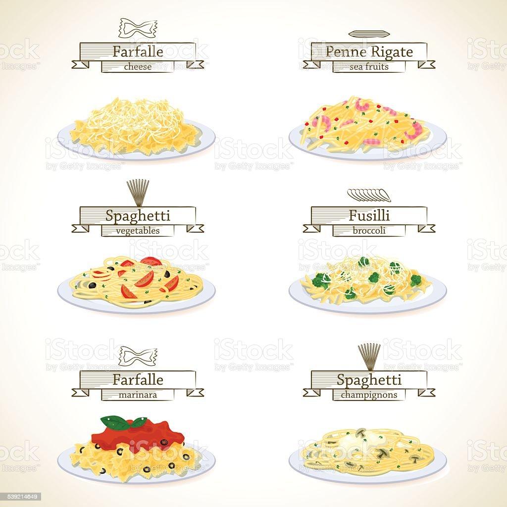 Pasta dishes set vector art illustration