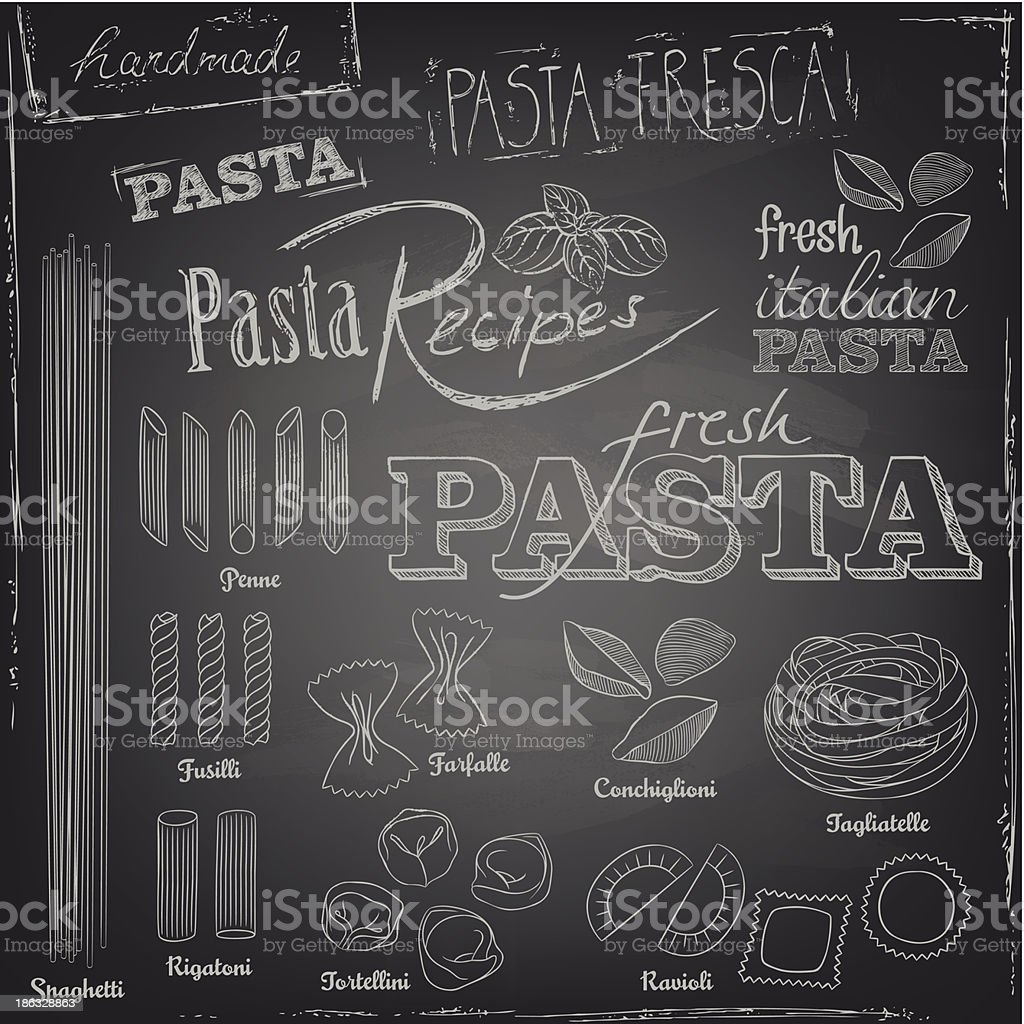 Pasta elements on a blackboard vector art illustration