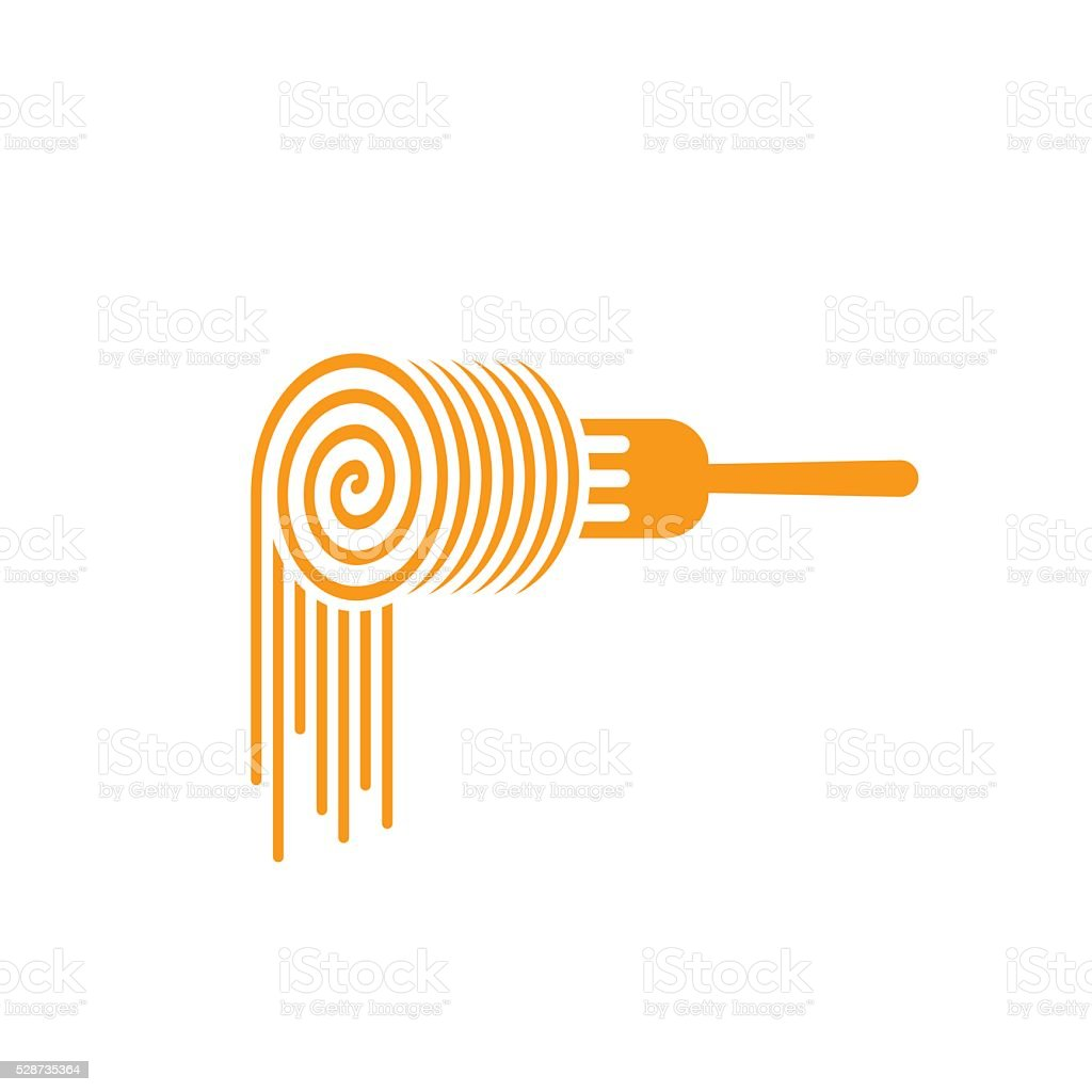 Pasta fork vector logo, roll symbol concept of noodles vector art illustration