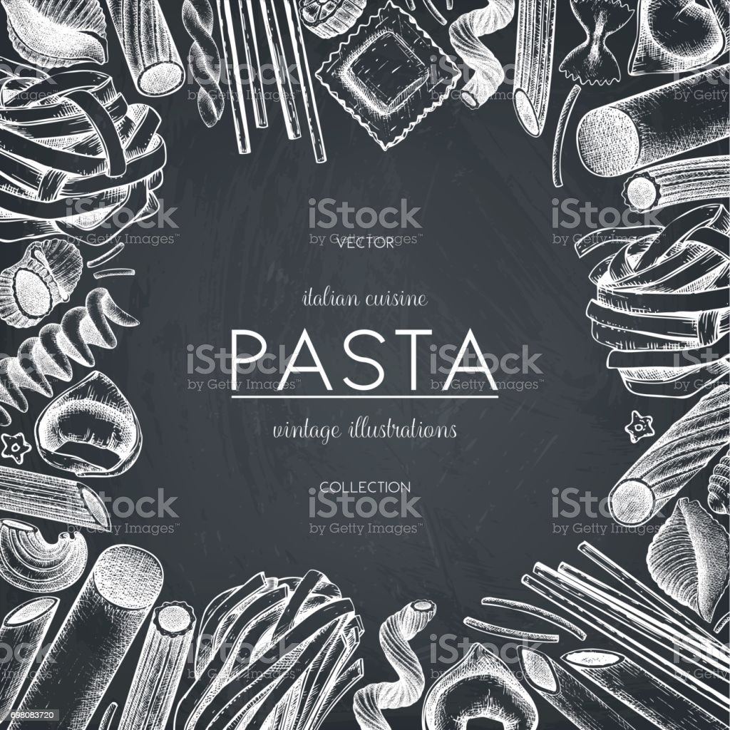 pasta menu design on chalkboard vector art illustration