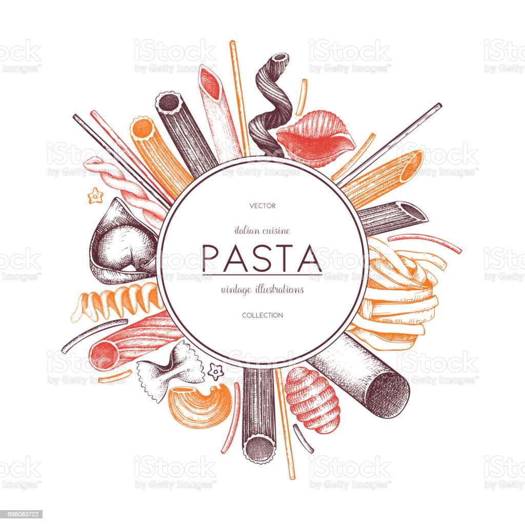 pasta menu design vector art illustration