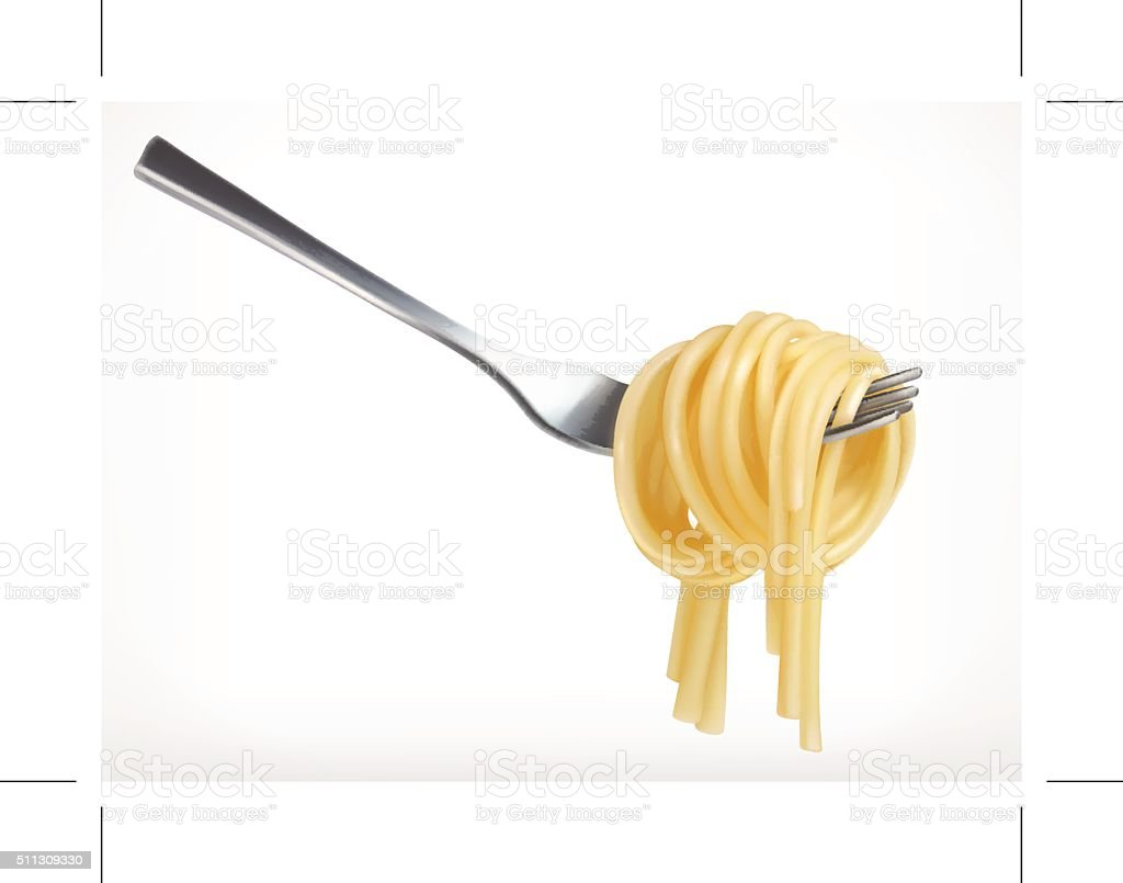 Pasta on fork vector art illustration