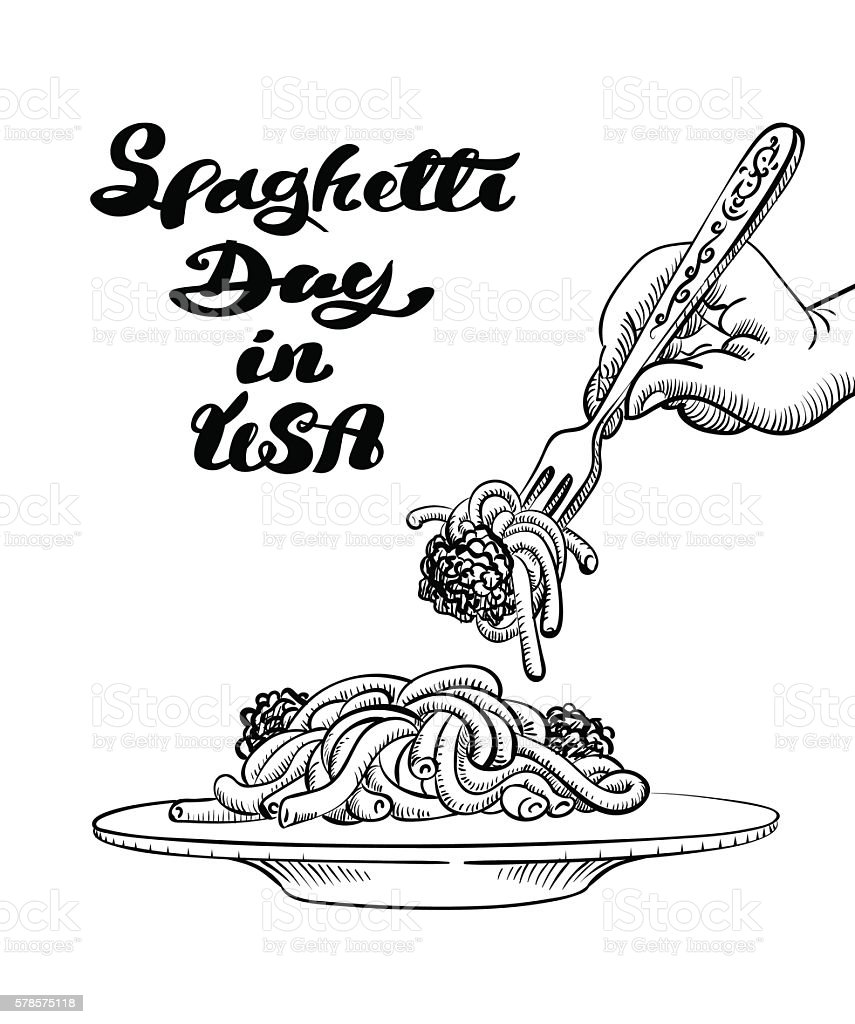 pasta on plate with text and human hand on top vector art illustration