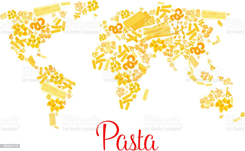 Pasta or italian macaroni vector world map vector art illustration