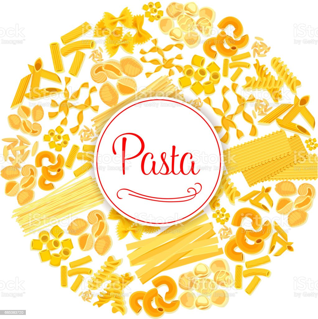 Pasta or macaroni vector round Italian poster vector art illustration