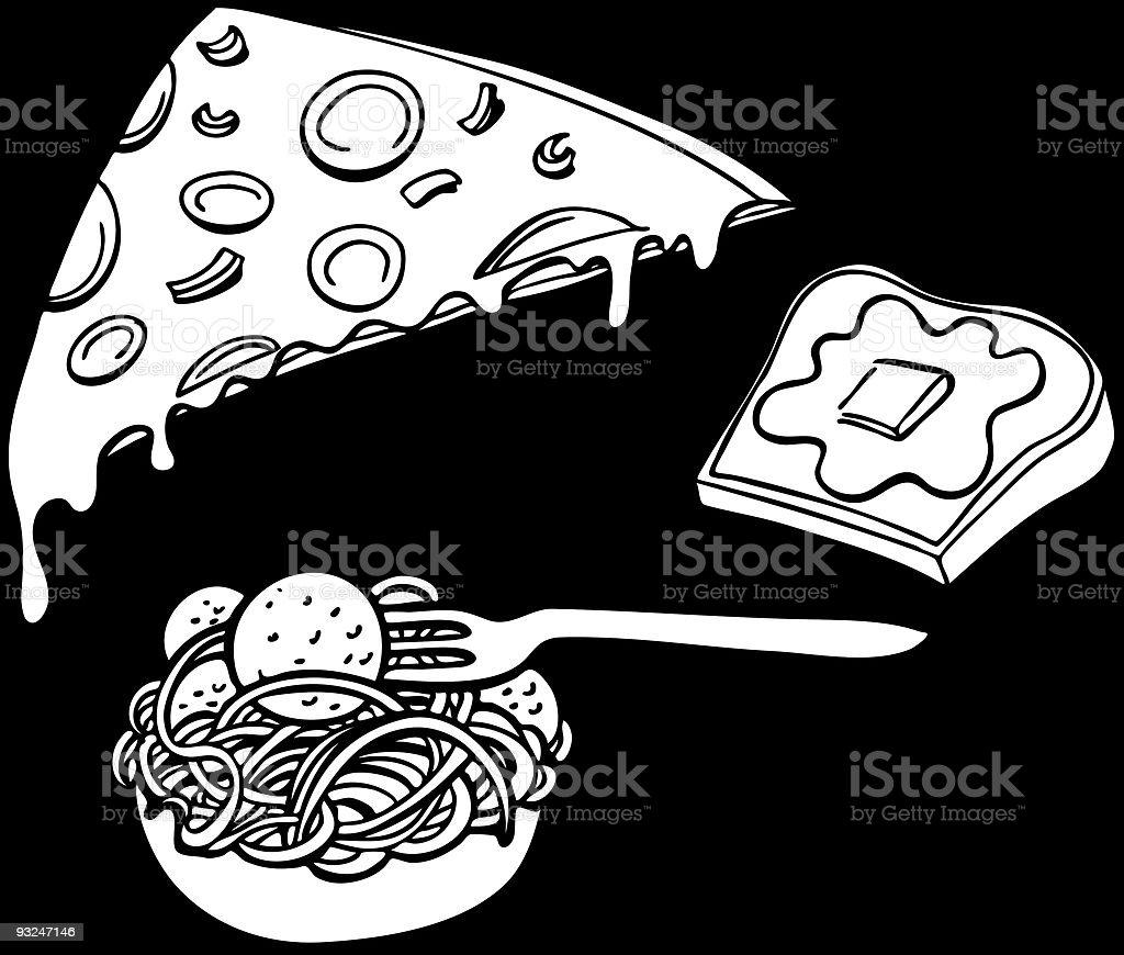 Pasta Pizza Garlic Bread Line Art vector art illustration