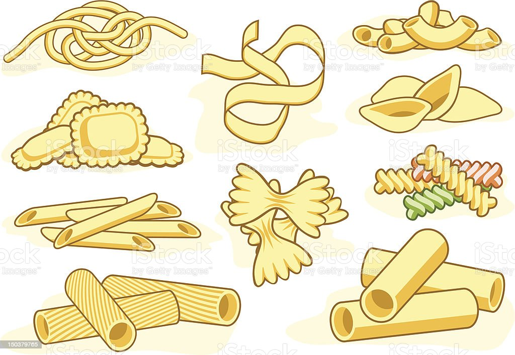 Pasta shape icons vector art illustration