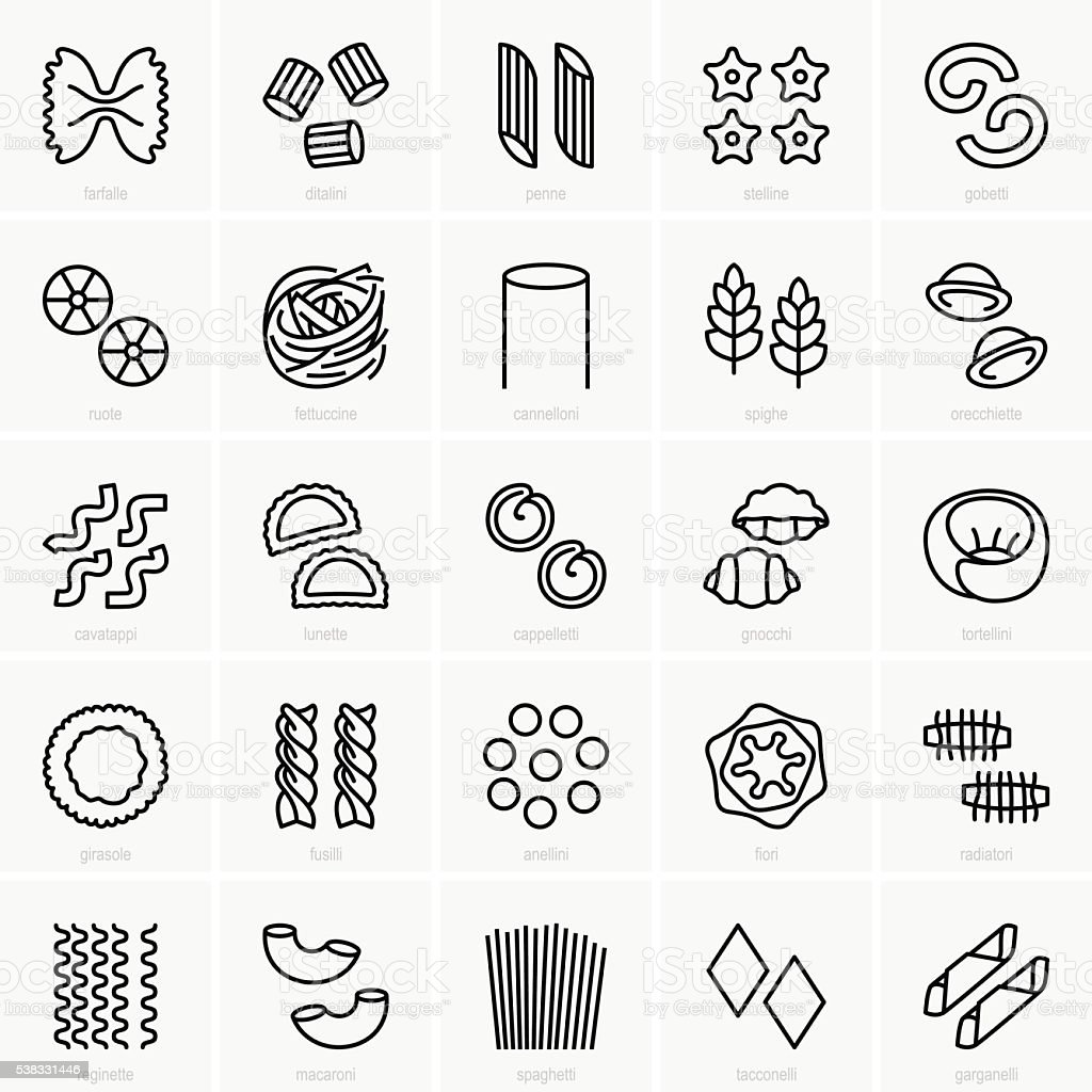 Pasta shape set vector art illustration