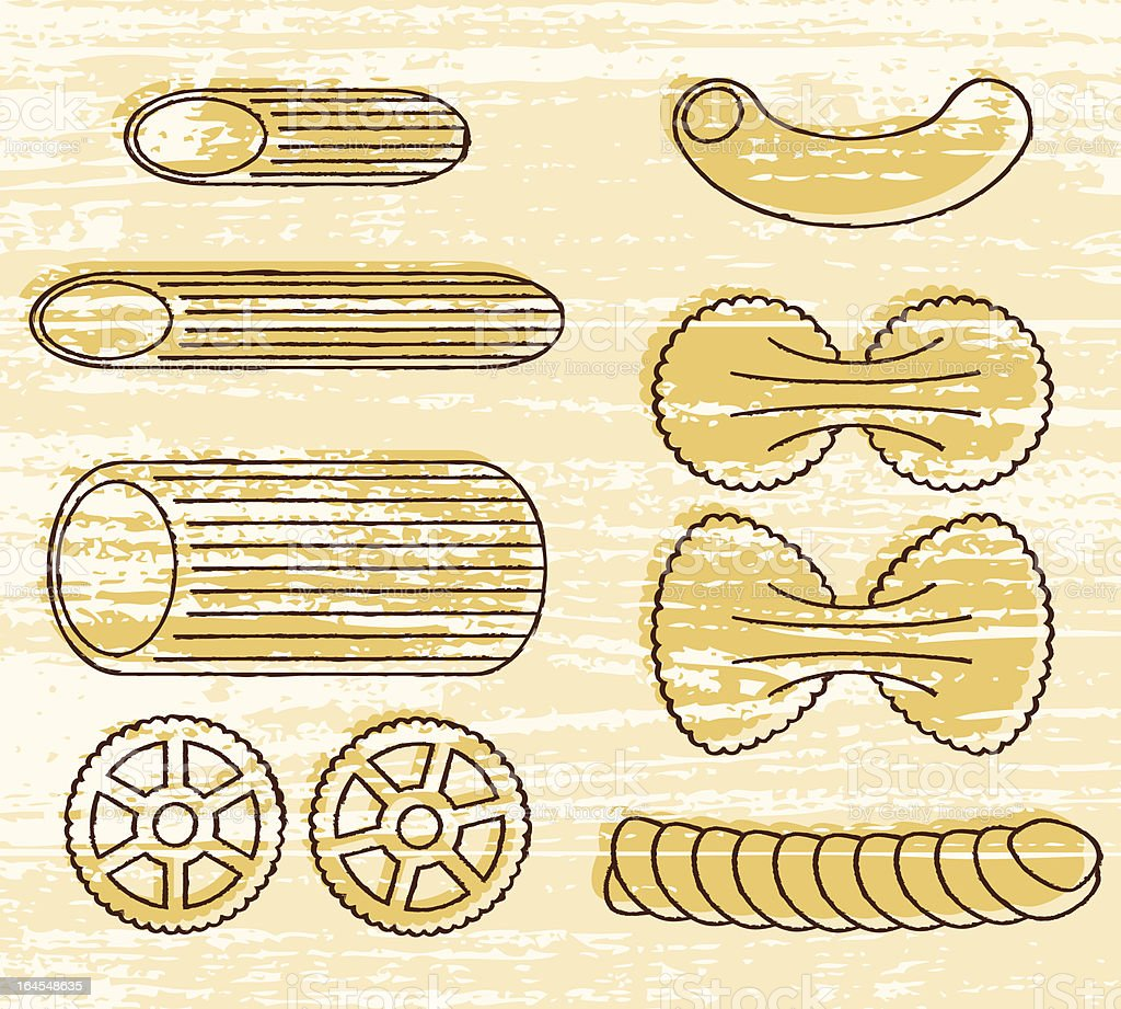 Pasta Shapes Icon Set vector art illustration