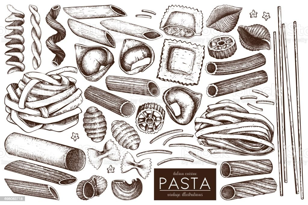 pasta sketch collection vector art illustration
