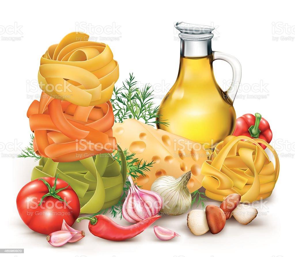 pasta tagliatelle and vegetables vector art illustration