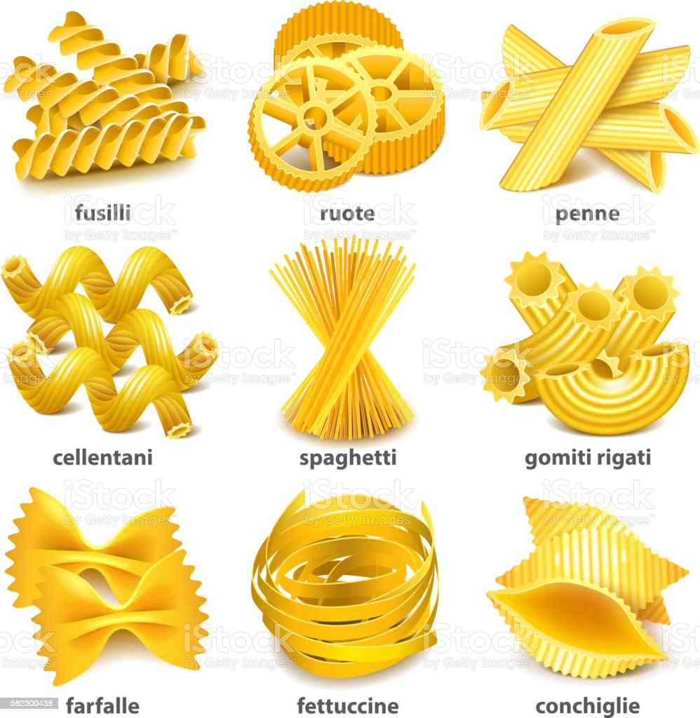 Pasta types icons vector set vector art illustration