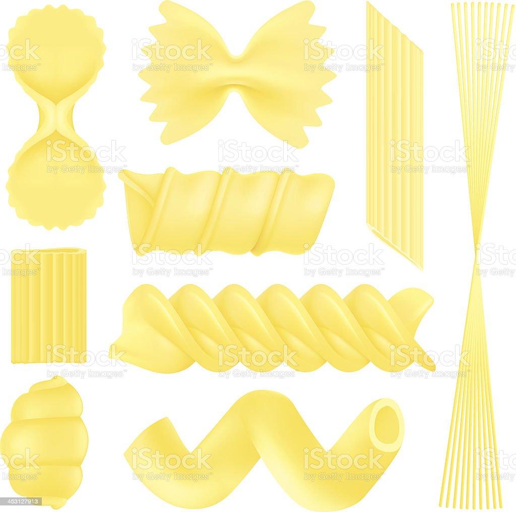Pasta Types vector art illustration