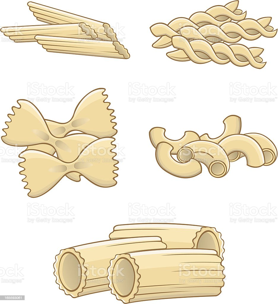 Pasta various vector art illustration