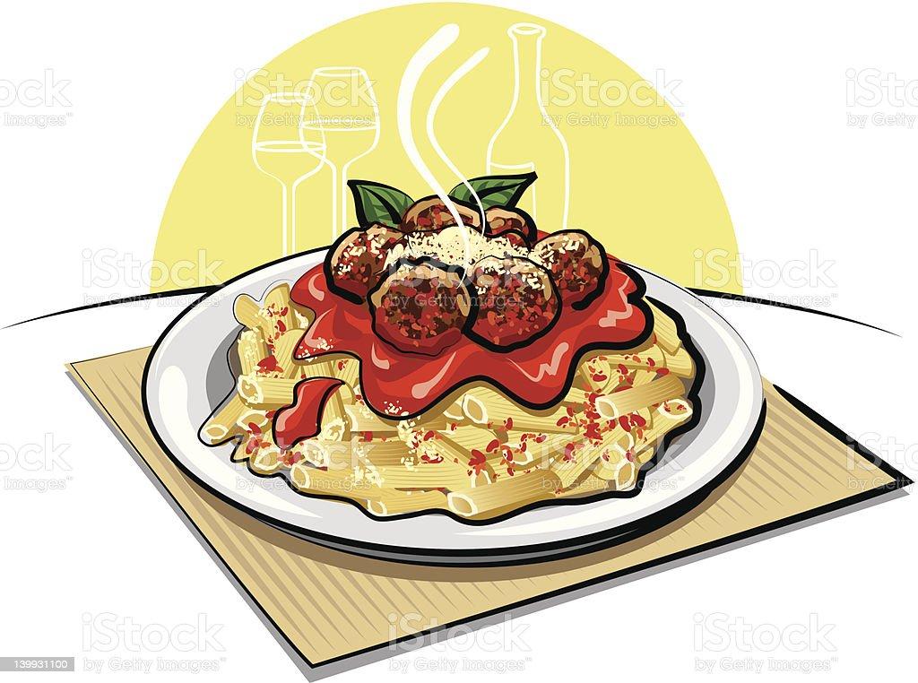 pasta with meatballs vector art illustration