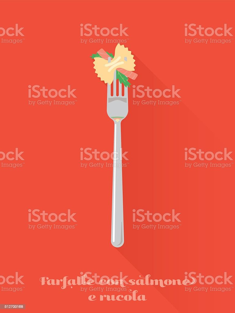 Pasta with salmon and rocket leaves on fork illustration vector art illustration