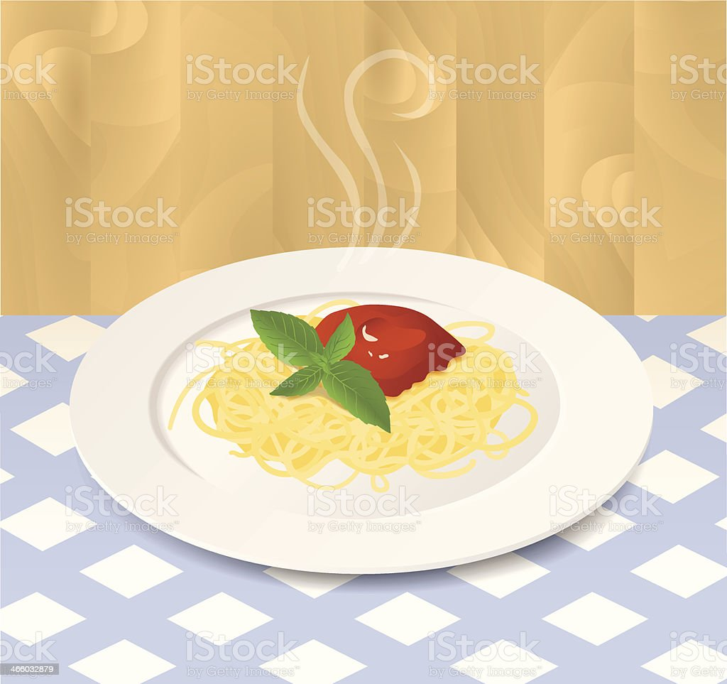 Pasta with Tomato Sauce and Basil on a Plate royalty-free stock vector art