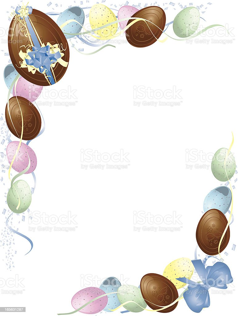 Pastel and Chocolate Easter Egg Frame royalty-free stock vector art