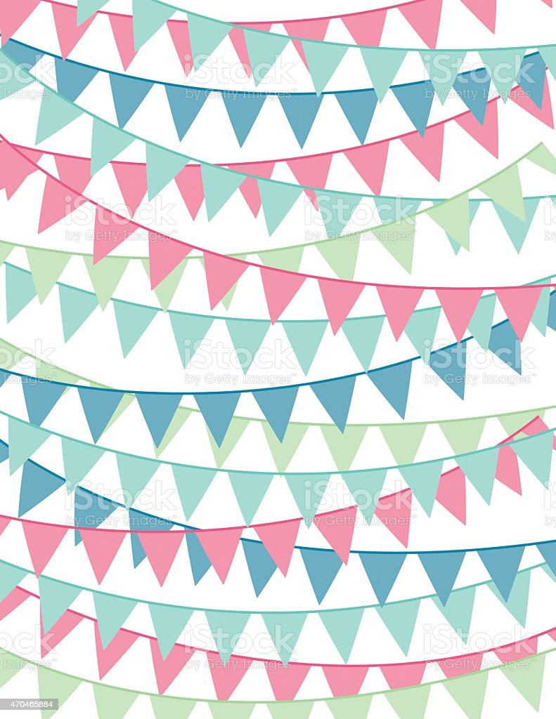 Pastel Bunting Flags Banners Hanging On White Background vector art illustration