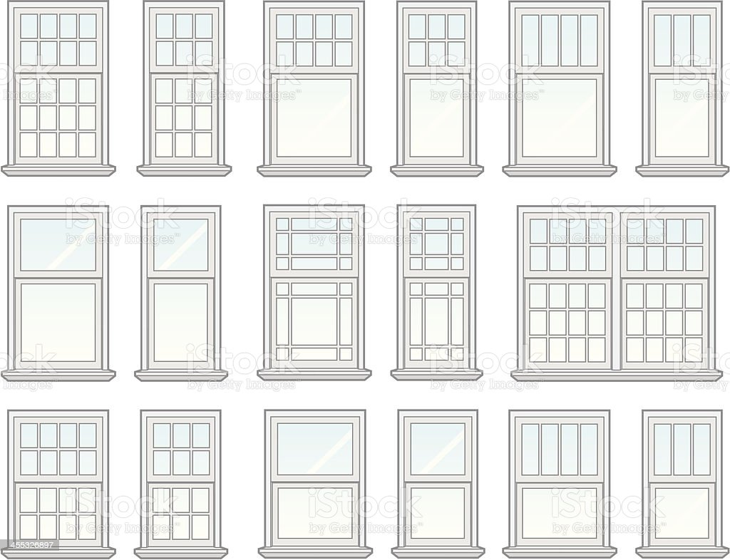 Pastel drawings of windows in various shapes vector art illustration