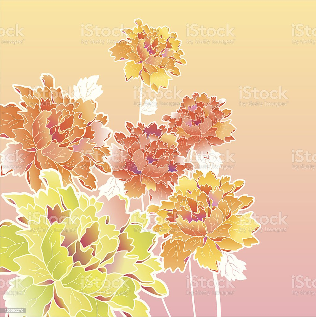 A CGI of pastel flowers on a gradient background royalty-free stock vector art