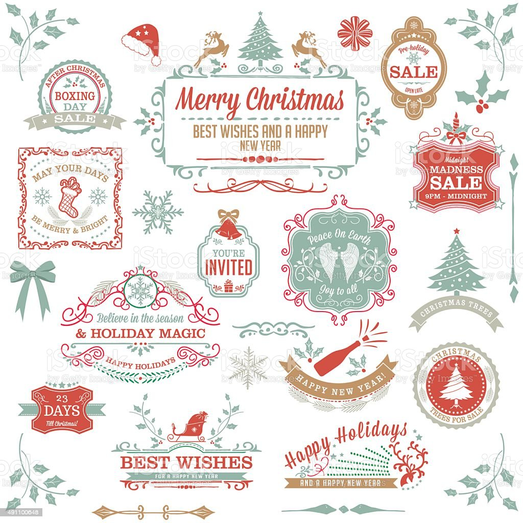 Pastel Holiday Christmas Label Stamp Collection vector art illustration