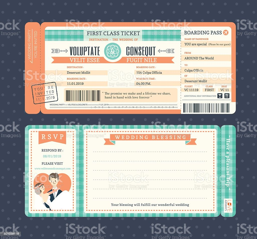 Pastel Retro Boarding Pass Wedding Invitation Template vector art illustration