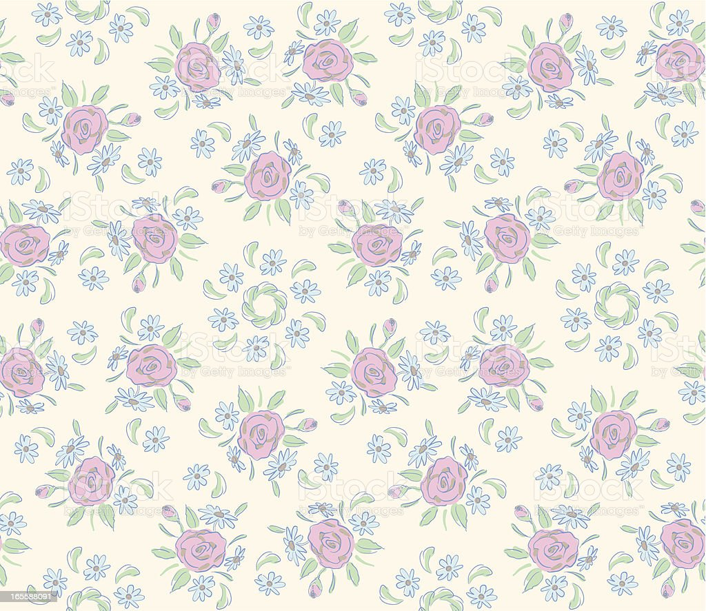 Pastel Rose Chintz Seamless Pattern royalty-free stock vector art