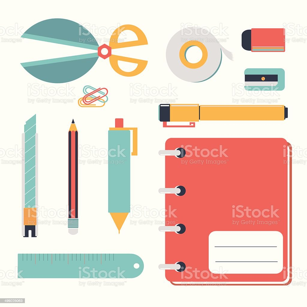 pastel stationary icon set vector art illustration
