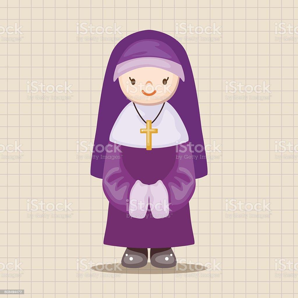 pastor and nun theme elements vector art illustration
