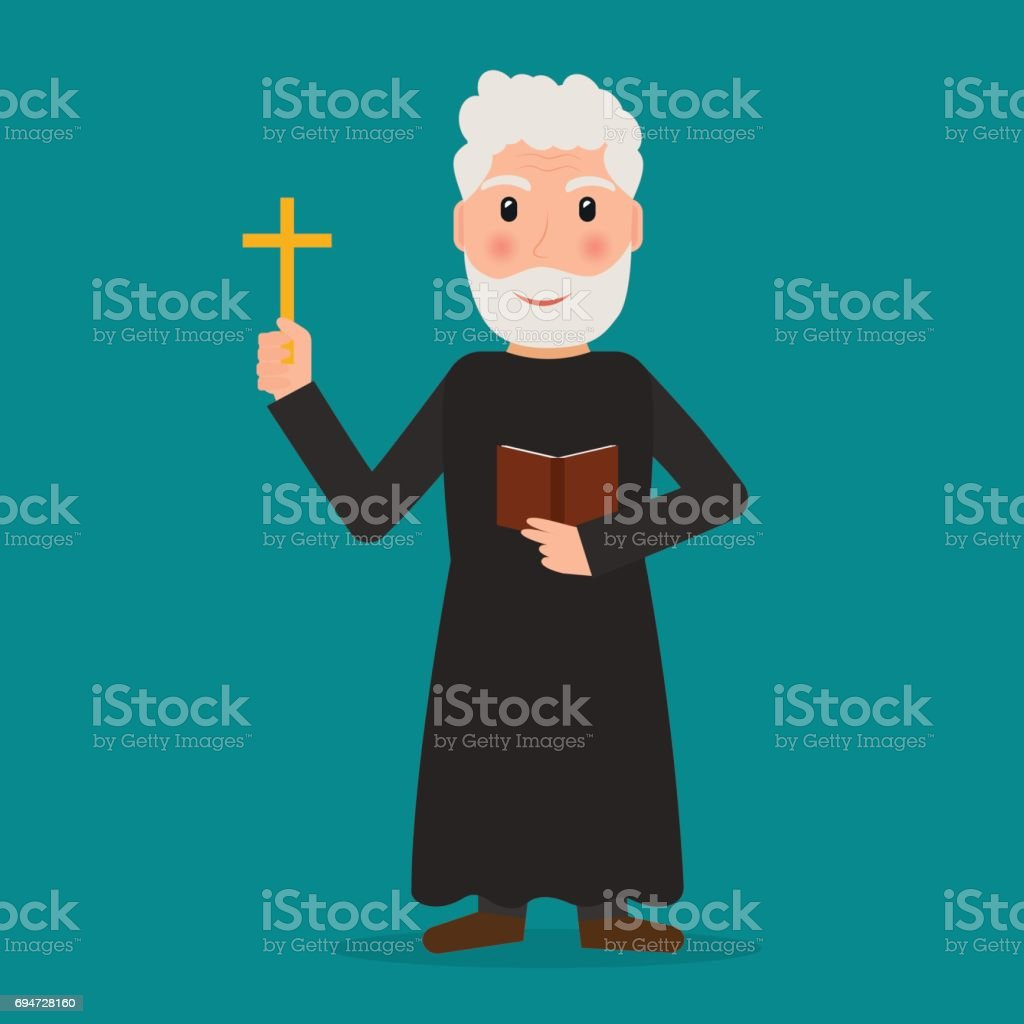 Pastor, priest or evangelist with cross and bible. EPS10 vector illustration in flat style. vector art illustration