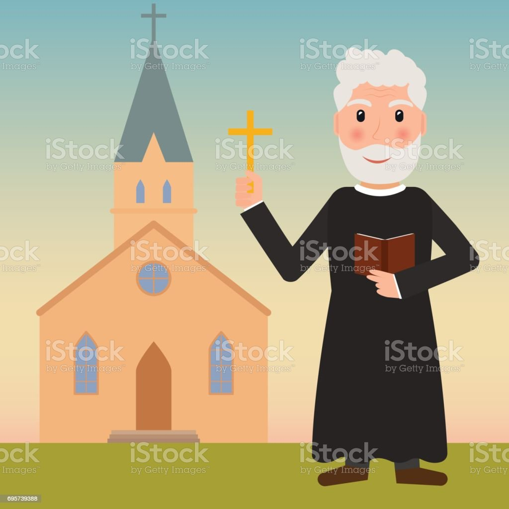 Pastor, priest or evangelist with cross and bible near the church. EPS10 vector illustration in flat style. vector art illustration