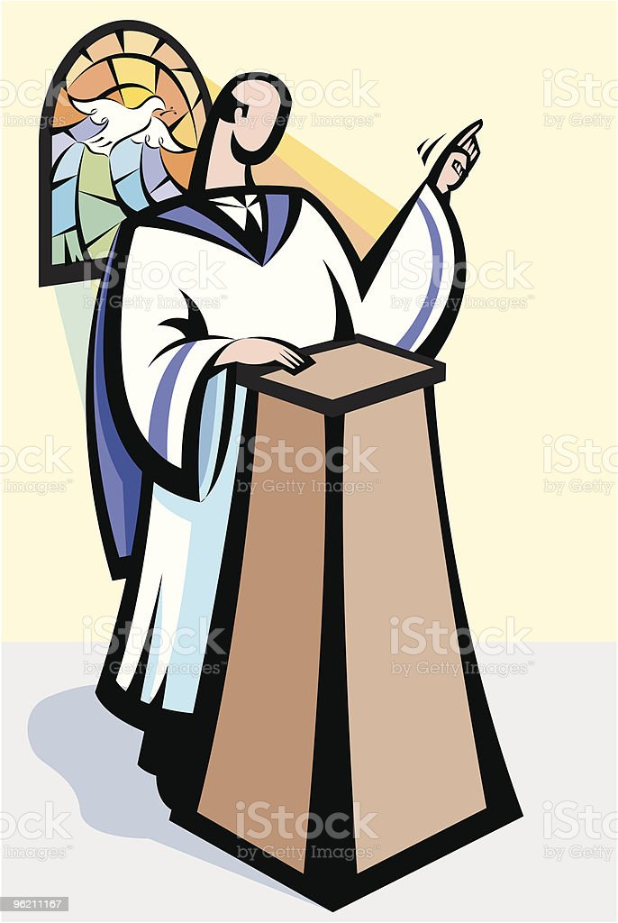 Pastor sermon vector art illustration