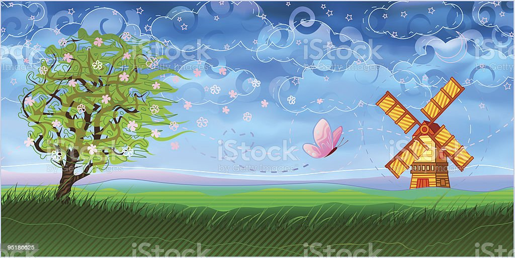 Pastoral landcape with a windmill royalty-free stock vector art