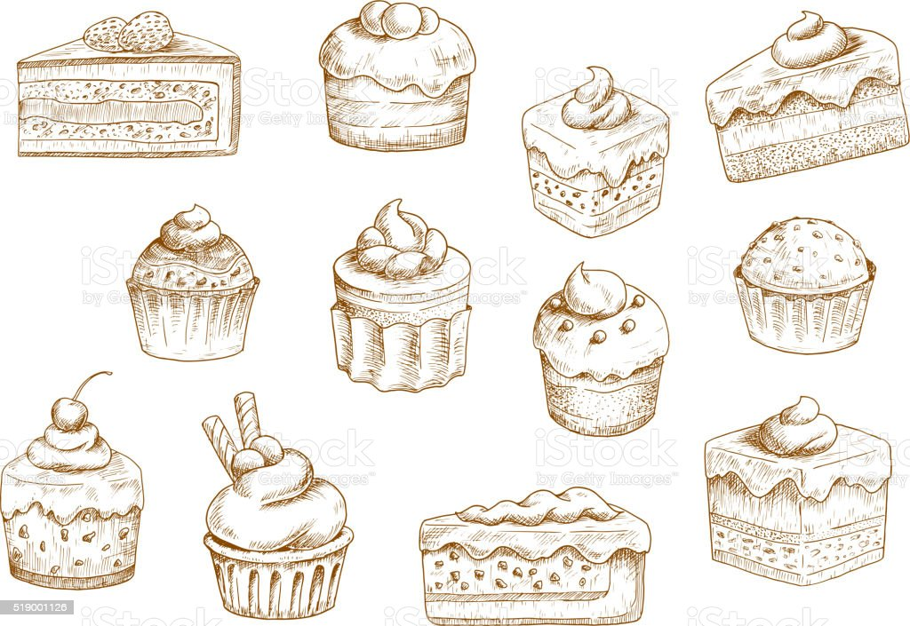 Pastry  and sweet desserts sketches vector art illustration