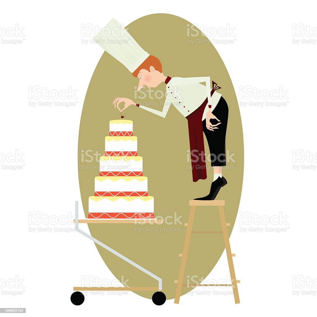 Pastry chef and a great multi-storey cake vector art illustration