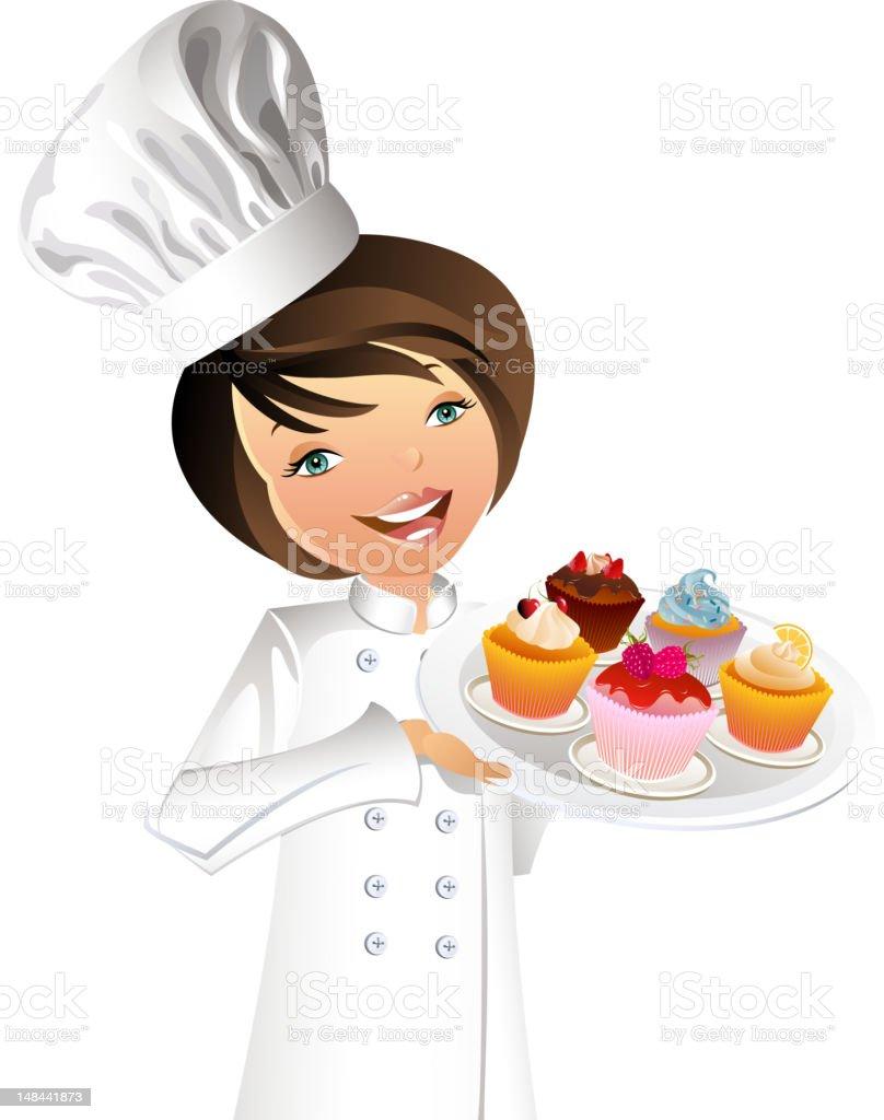 Pastry Chef vector art illustration