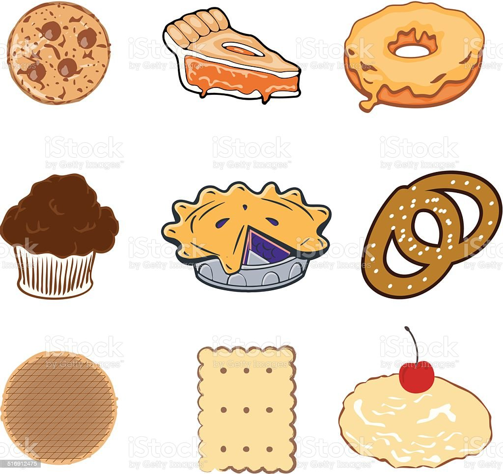 Pastry collection vector art illustration