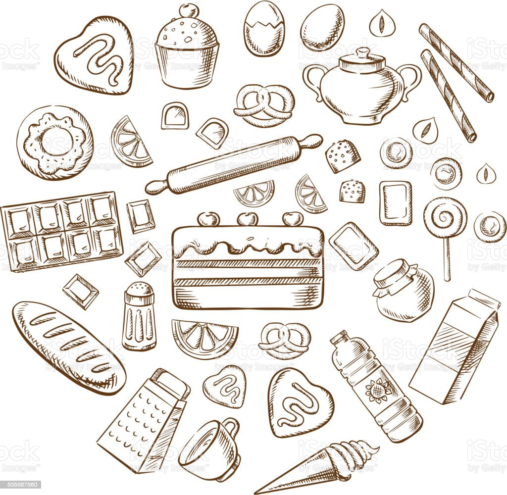 Pastry, dessert and bakery sketch icons vector art illustration