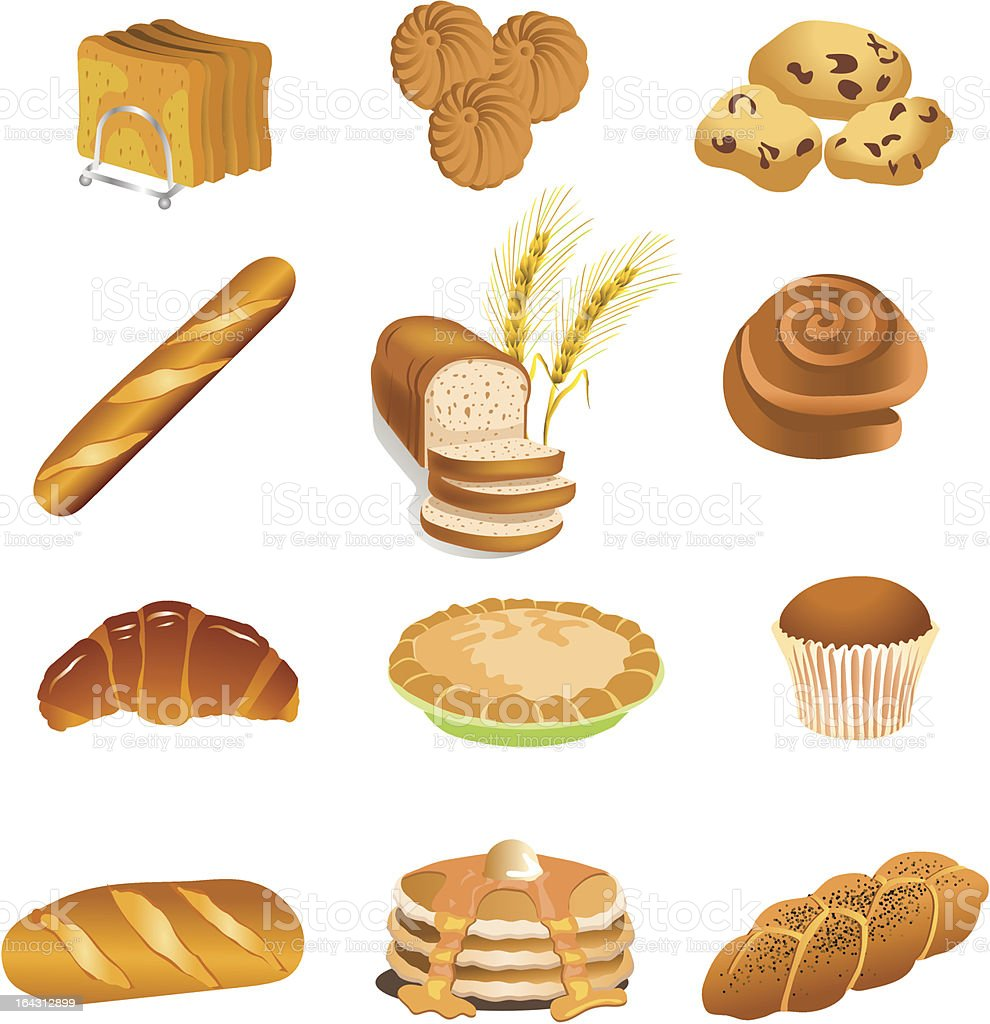 pastry food products vector art illustration