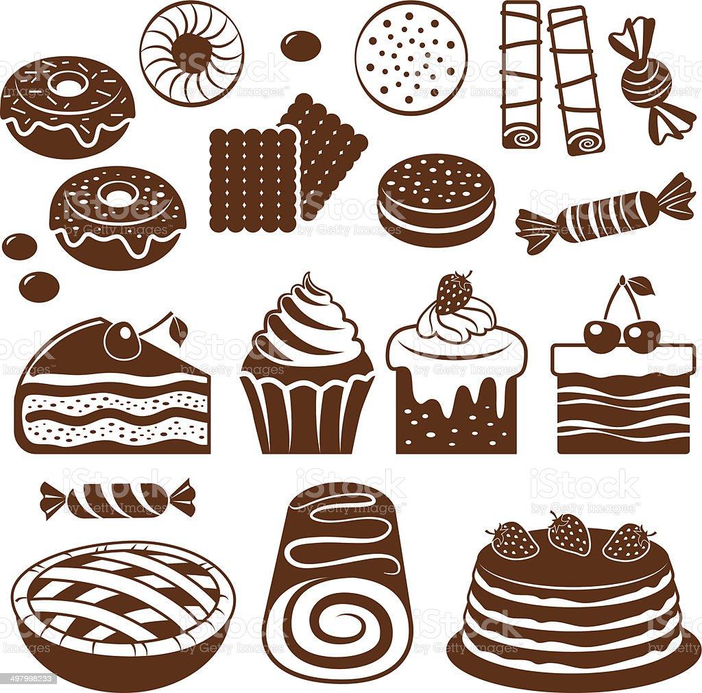 Pastry icon set. vector art illustration