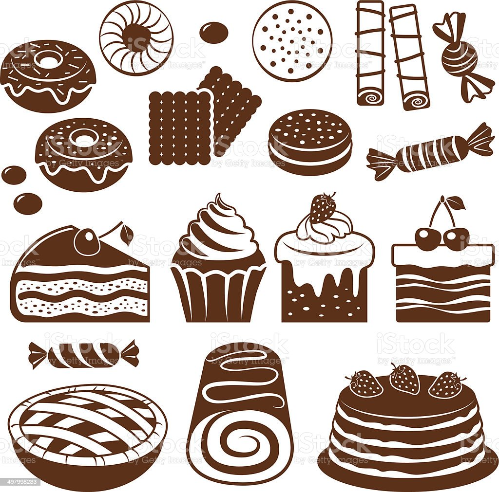 Pastry icon set. vector art illustration