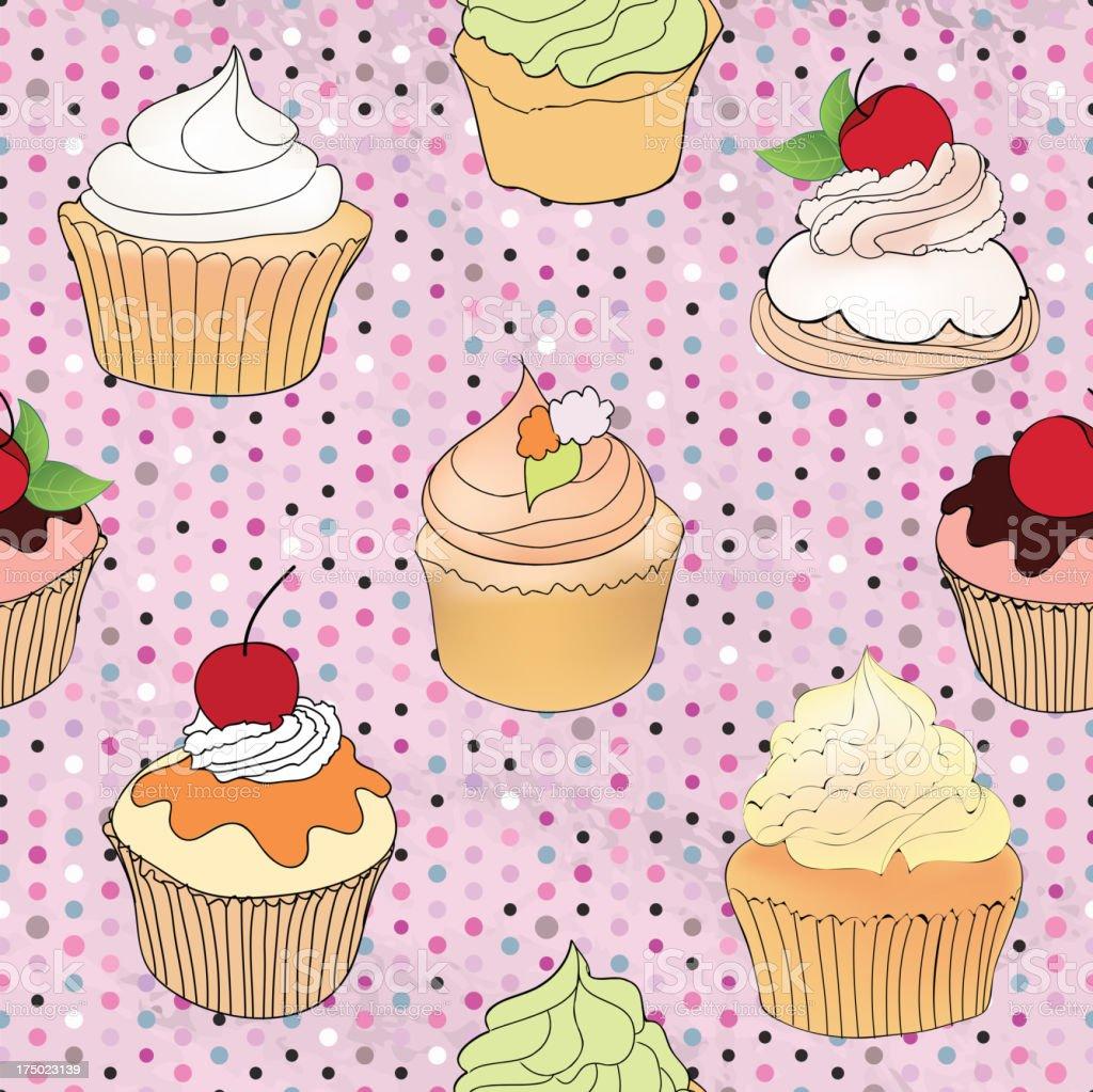 Pastry seamless retro pattern. royalty-free stock vector art