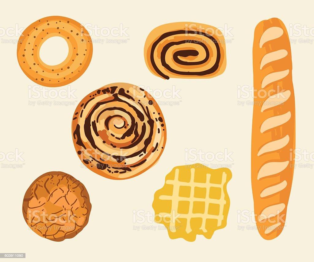 Pastry set vector art illustration