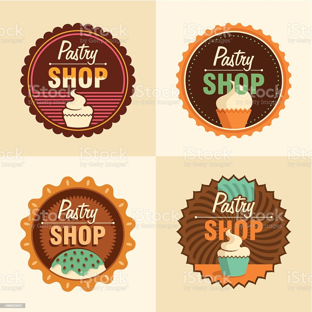 Pastry shop labels. royalty-free stock vector art