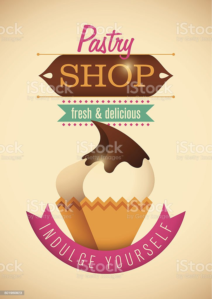 Pastry shop poster design. royalty-free stock vector art