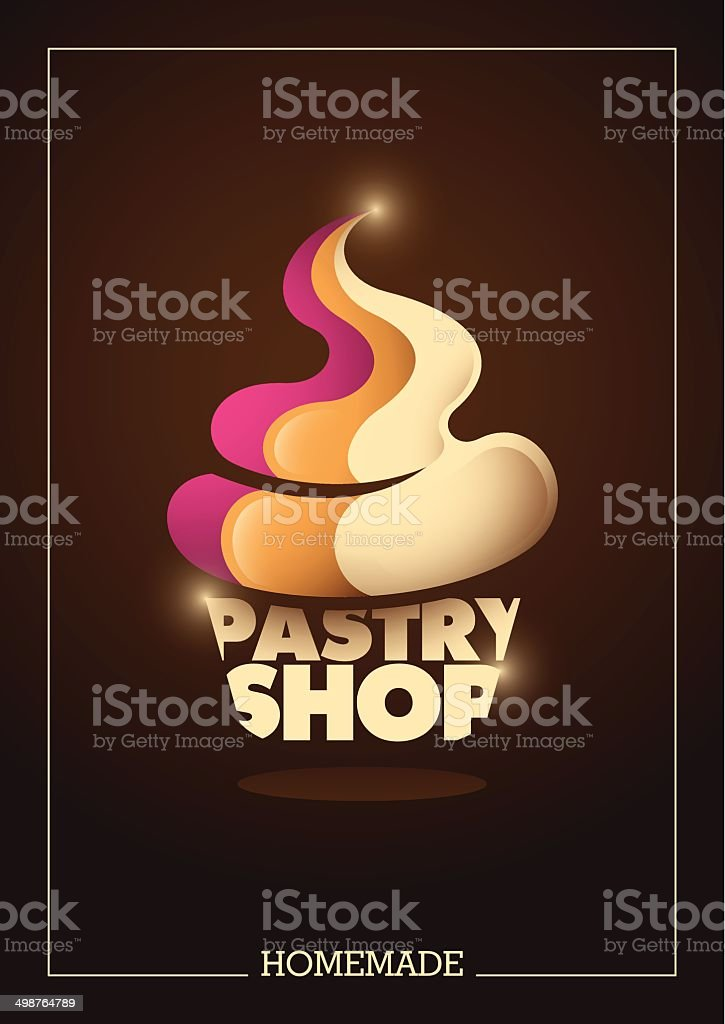 Pastry shop poster design with typography. vector art illustration