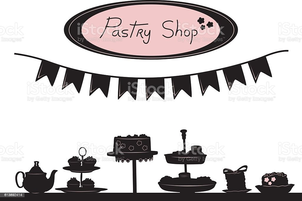 Pastry Shop Window Elements vector art illustration